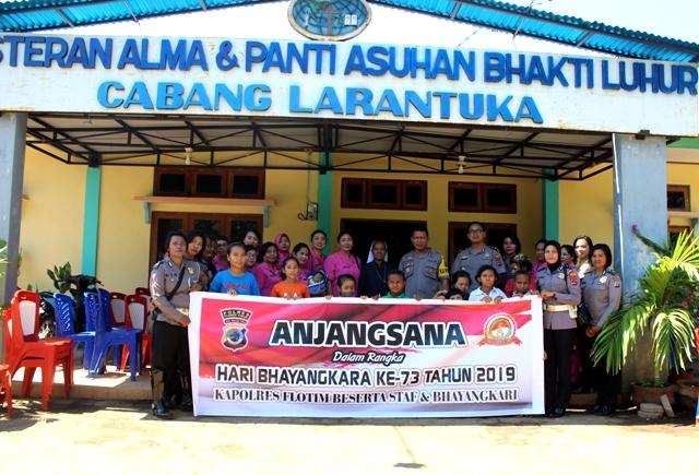 Jelang Hari Bhayangkara Ke 73 Tahun 2019, Polres Flotim Bersama Bhayangkari Laksanakan Giat Anjangsana ke Purnawirawan / Warakawuri dan Panti Asuhan.